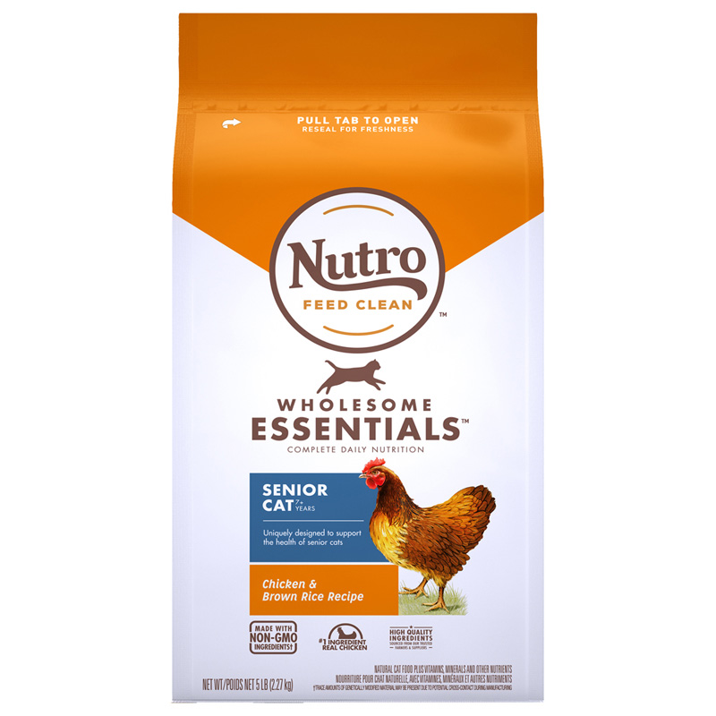 Nutro Wholesome Essentials Senior Farm-Raised Chicken & Brown Rice Recipe Cat Food 5 lbs. I021858