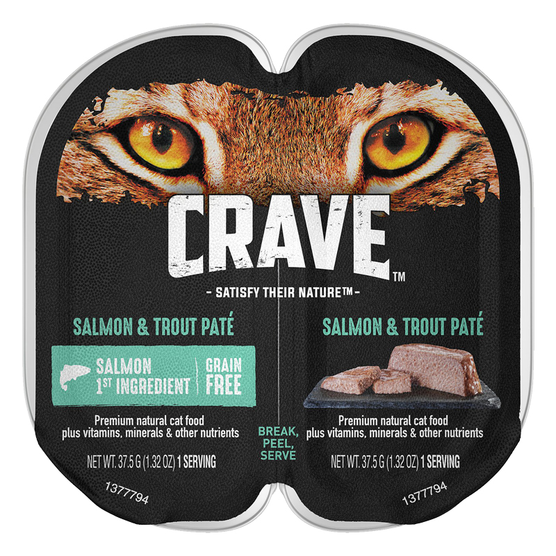 CRAVE Grain-Free Salmon & Trout Pate Perfect Portions Adult Wet Cat Food 2.6 oz. I021906