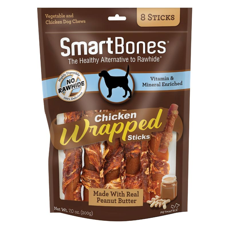 SmartBones Chicken Wrapped Sticks  with Peanut Butter & Vegetable 8pk I021953