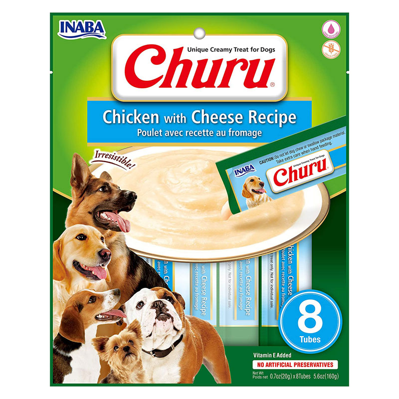 Inaba Dog Churu Chicken With Cheese Recipe 8pk I022189