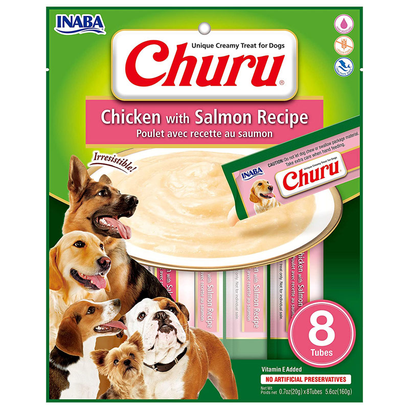 Inaba Churu Chicken with Salmon Recipe Treat for Dogs 8 count I022349