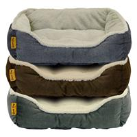DMC Good Dog Premium Tufted Rectangle Bolster Assorted Pet Bed 21x16 in. I023245