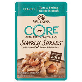 Wellness CORE Simply Shreds Recipe Tuna & Shrimp Cat Food 1.75oz Pouch I013725
