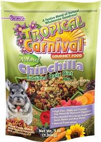 Tropical Carnival Natural Chinchilla Fortified Daily Diet Gourmet Food 3 Lb. Bag 57053