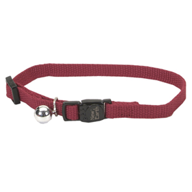 "New Earth Soy Adjustable Cat Collar With Bell Cranberry 3/8"" x 8-12"" 716214"