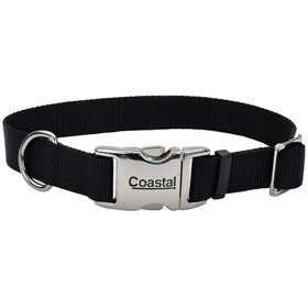 "Coastal Adjustable Dog Collar with Metal Buckle Black 3/4"" x 14-20""  28291"