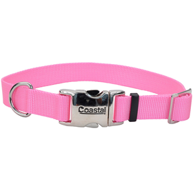 "Coastal Adjustable Dog Collar with Metal Buckle Bright Pink 1"" x 18""-26"" 28294"