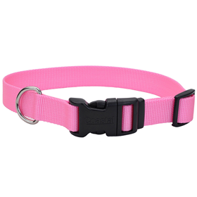 "Coastal Adjustable Dog Collar with Plastic Buckle Bright Pink 3/8"" X 8""-12"" 33014"