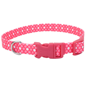"1"" x 18-26"" Polka Dot Pink Pet Attire Collar 363002"