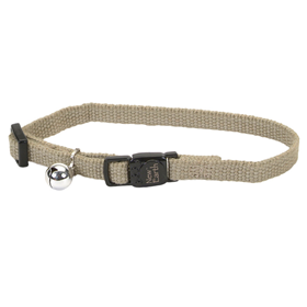 "Coastal New Earth Soy Adjustable Breakaway Cat Collar with Bell 3/8"" x 8-12"" Olive  716212"