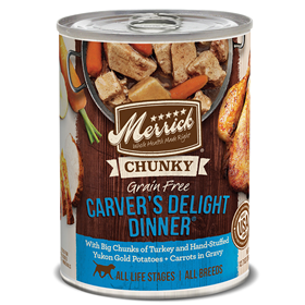 Merrick Chunky Carver's Delight Dinner Grain Free Recipe 12.7oz  I006181