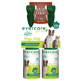 Evercare Pet Plus Ergo Grip Value Pack 2 Lint Rollers -70 Sheets Each I014350