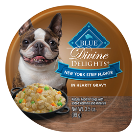 Blue Buffalo Divine Delights New York Strip Flavor in Hearty Gravy for Dogs 3.5 oz. Tray I014784
