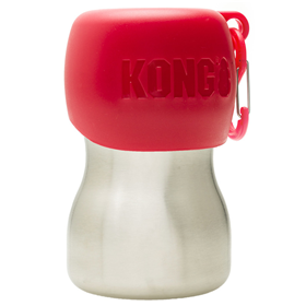 KONG H2O Stainless Steel Dog Water Bottle Red 9.5 oz I018199