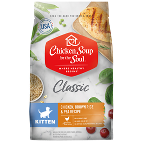 Chicken Soup for the Soul Classic Kitten Chicken, Brown Rice & Pea Recipe Cat Food  I019664b