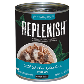 Replenish with Chicken & Sardine in Gravy Canned Dog Food 13.2 oz. I021517
